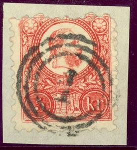 HUNGARY 1871 5kr LITHO FRANZ JOSEF Sc 3 on Piece with VIENNA AUSTRIA 1 CANCEL