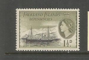 FALKLAND ISLANDS, 1L21, MINT HINGED, TRANS-ANTARCTIC EXPE. SHIP-WYATT EARP