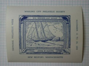 1939 Whaling City Philatelic Society New Bedford MA Souvenir Poster SS Label Ad
