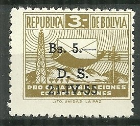1955 Bolivia RA22  Postal Tax MH