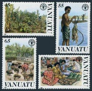Vanuatu 489-492,MNH.Michel 802-805. FAO 1988.Fishing,Animal husbandry.