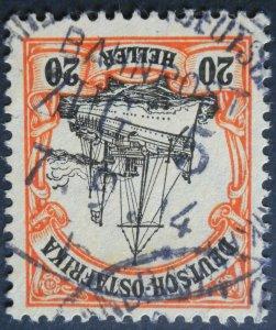 German East Africa 1905 Twenty Heller with BAHN ZUG 5b postmark