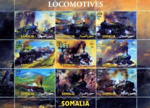 Somalia 2003 TRAINS LOCOMOTIVES Sheet (9) Perforated Mint (NH)