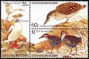 Cocos Islands #134a, Complete Set, Block of 3, 1985, Birds, Never Hinged