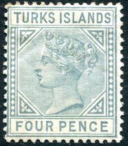 TURKS ISLANDS-1884 4d Grey Sg 57  MOUNTED MINT V24021