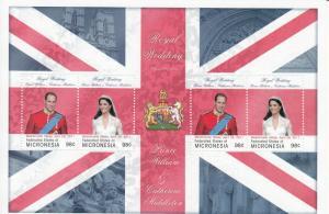 Micronesia Royalty Stamps 2011 MNH Royal Wedding Prince William & Kate 4v M/S I