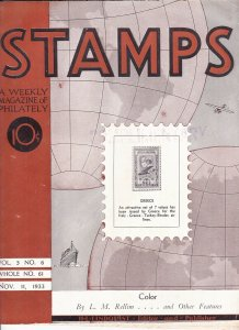 Stamps Weekly Magazine of Philately November 11, 1933 Stamp Collecting Magazine