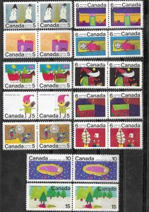 Canada # 519-530 Christmas 1970 - Child Art - PAIRS  (12) Mint NH
