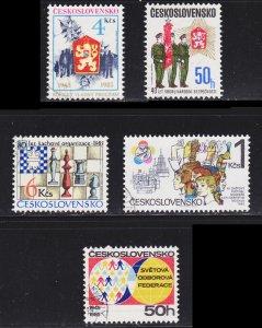 Czechoslovakia Scott 2552-53, 2557, 2568-69 F to VF CTO.