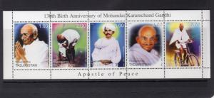 Tajikistan  1999 GANDHI APOSTLE OF PEACE Strip (5) Perforated MNH