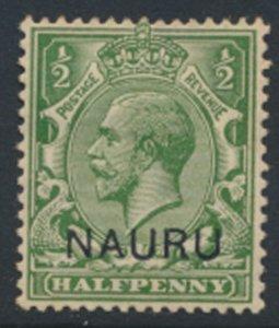 Nauru   SC# 1  GB OPT  thinner Overprint font   issued 1916- see detail & scans