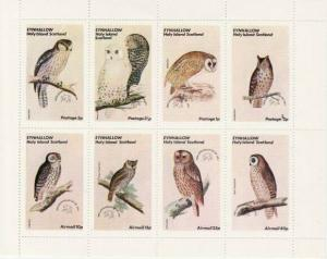 Owls -  Sheet of 8 Stamps  - 5D-001