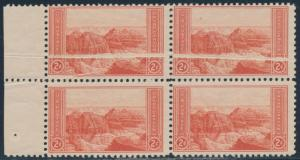 #741 VAR. 2¢ GRAND CANYON BLOCK OF 4 WITH PRE-PRINT PAPER FOLD ERROR BR4985