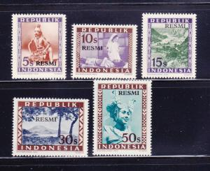 Indonesia O8-O12 MNH Official Stamps