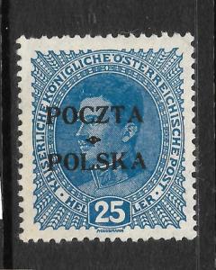 POLAND 1919  25h  BLUE   MH  SIGNED   Sc 58
