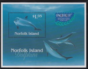 Norfolk Island # 623a, Dolphins Souvenir Sheet with PACIFICA '97, NH, 1/2 Cat.