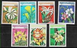 #8032 KAMPUCHEA 1984 FLORA FLOWERS SET YV 477-83 MNH