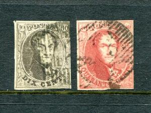 Belgium #10,12  used  Cat $160- Lakeshore Philatelics