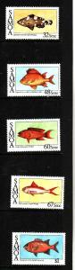 Samoa-Sc#680-4-Unused NH set-Fish-Marine Life-1986-