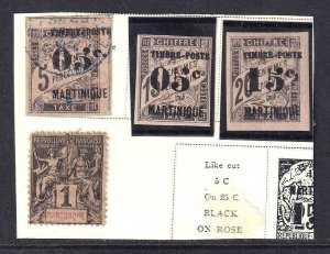 MARTINIQUE EARLY ISSUES COLLECTION LOT SCARCE IMPERF BLACK OVERPRINTS 4 STAMPS