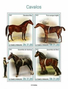 Sao Tome & Principe 2021 MNH Horses Stamps Cleveland Bay Thoroughbred 4v M/S