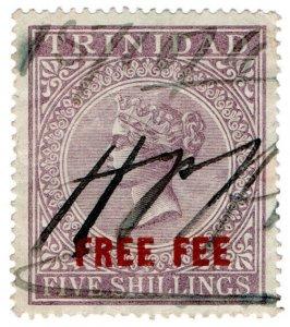 (I.B) Trinidad & Tobago Revenue : Free Fee 5/- (1890)