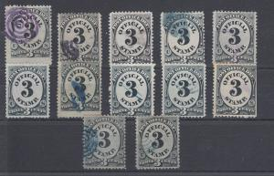 US Sc O49 used. 1873 3c black Post Office Dep't Official, 12 color cancels
