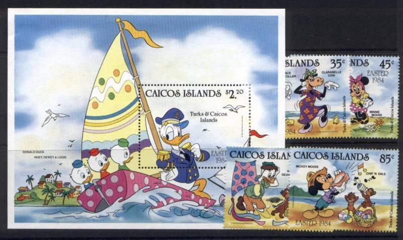 Caicos Islands 42-6 MNH Disney, Easter, Sailing, Shells, Donald Duck, Mickey