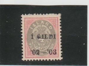 Iceland  Scott#  51  MH  (1902 Overprint)