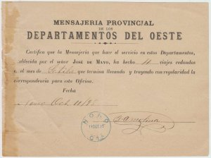 ARGENTINA 1899, OCT 11 PROVINCIAL STAGECOACH OF WEST OF CORDOBA NONO CBA. Cds