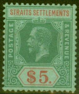Straits Settlements 1920 $5 on Emerald SG212c Fine & Fresh Mtd Mint.