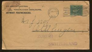 1908 Washington DC to Zurich Switzerland Advertising Cover