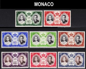Monaco Scott 366-70, C46-48 complete set F to VF mint OG NH.
