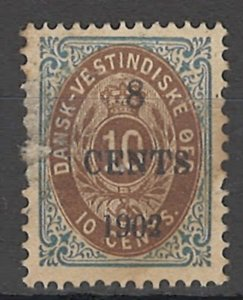 COLLECTION LOT # 1650 DANISH WEST INDIES # 25 1902 CV=$42.50 MINOR FAULT