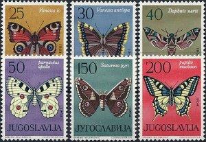 1964 Jugoslawien Schmetterlinge, MiNr. 1069-1074 ** KAT 12€ SCHÖN!
