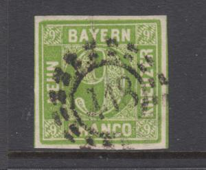 Bavaria Sc 6 used. 1850-58 9kr yellow green Numeral, 418 open Millwheel cancel