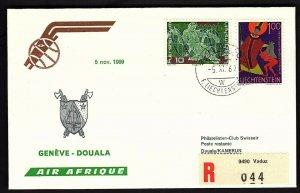 FFC GENEVA TO DOUALA CAMEROUN FROM  Liechtenstein (KB1929)