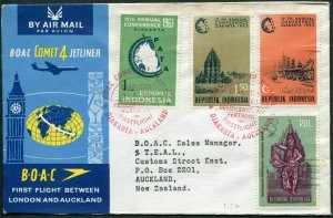 Indonesia 581/584,546,letter. Pacific Travel Association,1963.Prambanan Temple,