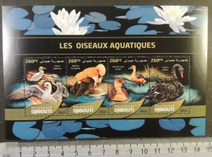 Djibouti 2016 aquatic birds flowers lilies m/sheet mnh