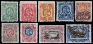 Mexico Scott 294-302 (1899) Mint/Used H F-VF, CV $53.75
