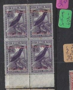 TONGA  (PP2612B)  BIRD  W2D/2/6  SG 69  BL OF 4  SL TONE   MNH