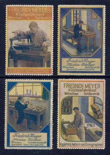 Germany FRIEDRICH MEYER PrintingPlate Adv Poster Stamps