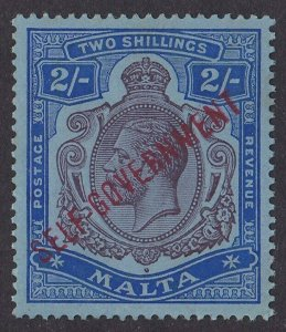 Malta 1922 Self Government KGV 2/- MNH ** watermark Multiple Crown CA