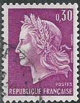 France 1198 (used) 30c Marianne (by Cheffer), brt lilac (1967)