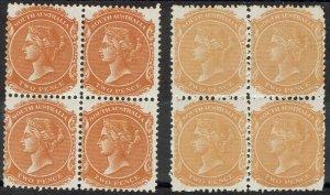 SOUTH AUSTRALIA 1876 QV 2D */** BLOCKS 2 SHADES WMK CROWN/SA PERF 13