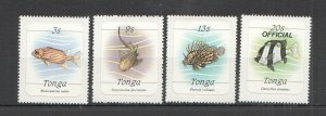 NW0282 TONGA FAUNA FISH & MARINE LIFE OVERPRINT OFFICIAL !!! SELF-ADHESIVE MNH