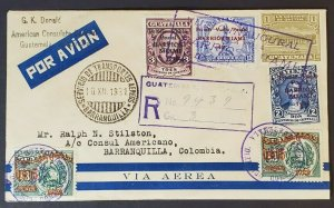 1931 Guatemala to Barranquilla Colombia USA Consulate Registered Air Mail Cover