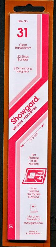 Showgard Stamp Mount Size 31/215 mm - CLEAR (Pack of 22) (31x215  31mm)  STRIP
