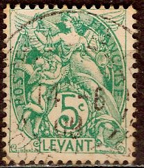 France - Offices in Turkey; 1906: Sc. # 25: O/Used Single Stamp