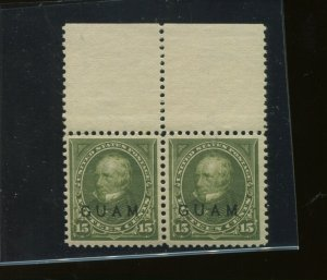 Guam Scott 10 Var SPECIAL PRINTING Mint NH Pair of 2 Stamps w/PF Cert (G 10-PF1)